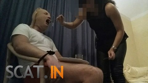 Lady Milena - Prisoner of goddess is fed with shit (FullHD 1080p)